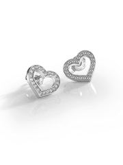 Guess Shine On Me Heart Studs- Silver