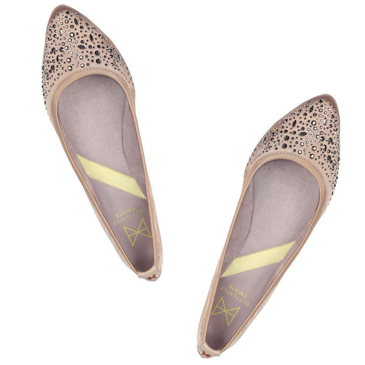 Janey Blush Pink/Crystals Ballet Flats