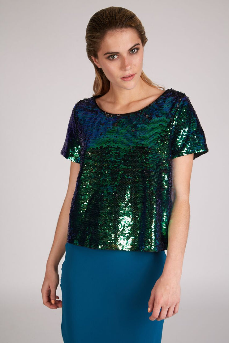 Theola Green Sequin T-Shirt