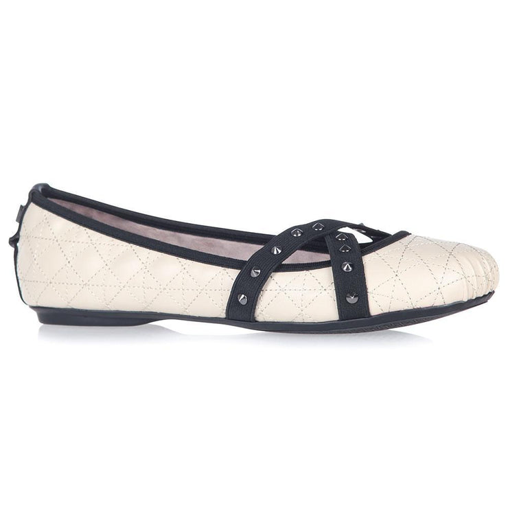 Mya Cream/Black Flats