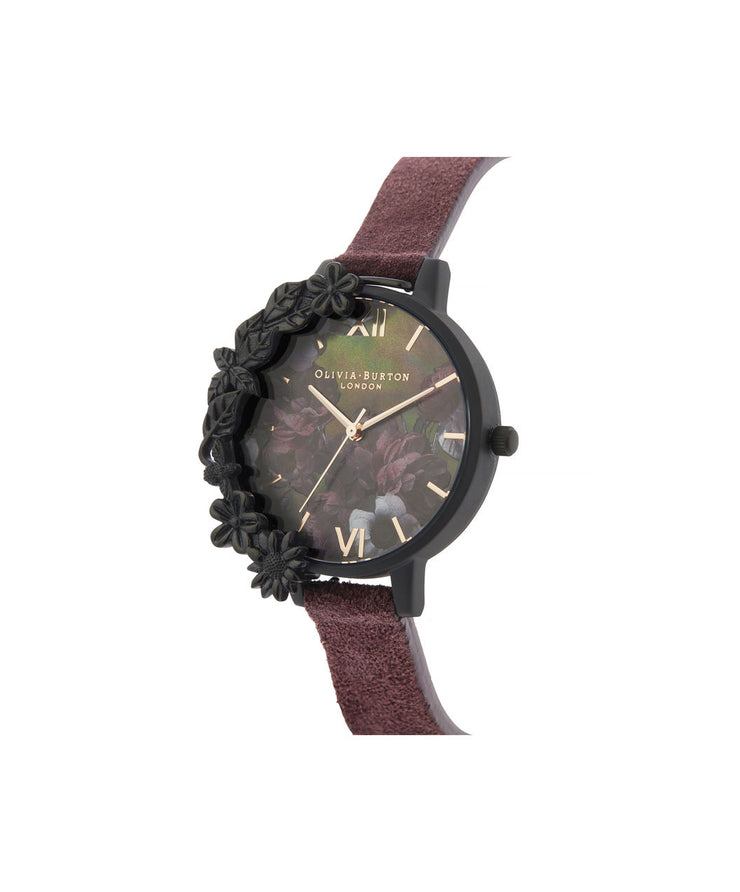 After Dark Case Cuff Demi Dial Watch With Wine Suede Strap - AD44