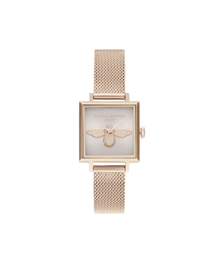 Ladies 3D Bee Square Dial Blush Sunray & Pale Rose Gold Watch - AM164