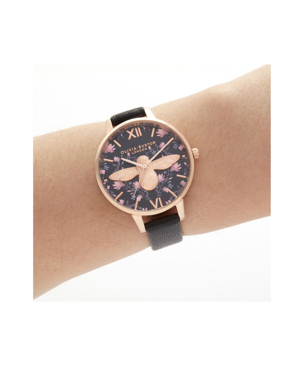 Ladies Meant To Bee Demi Black & Rose Gold Watch - AM165