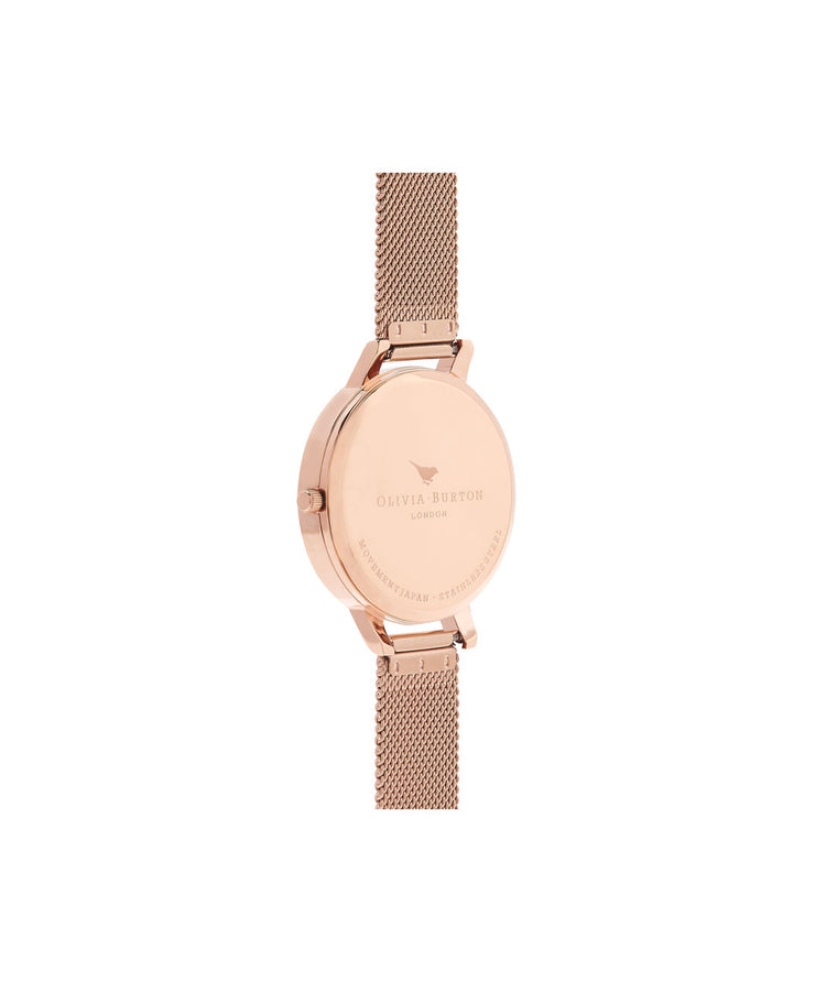 Ladies Big Dial Rose Gold Sunray Mesh Watch - BD102