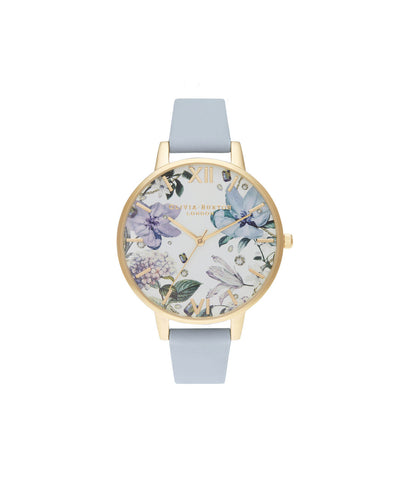 Ladies Bejewelled Florals Big Dial Chalk Blue & Gold Watch - BF21