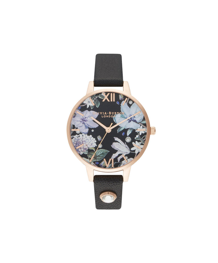 Ladies Bejewelled Florals Embellished Black & Rose Gold - BF23