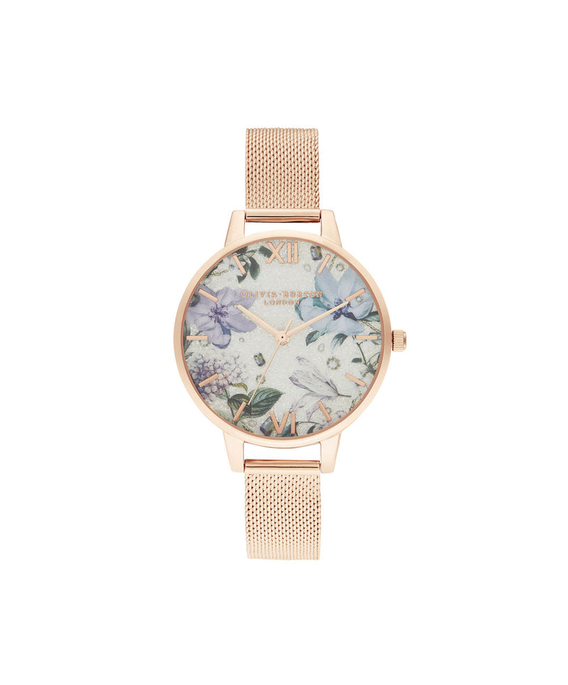 Ladies Bejewelled Florals Silver Glitter Dial & Rose Gold Mesh Watch - BF27