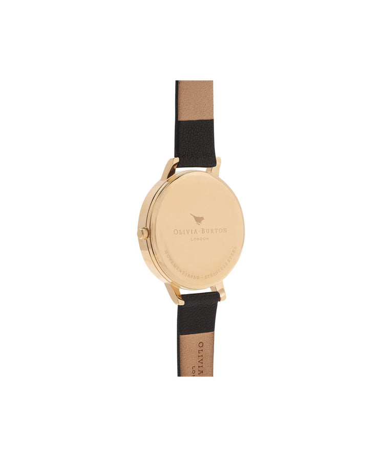Ladies Case Cuff Black Dial & Gold Watch - CB07