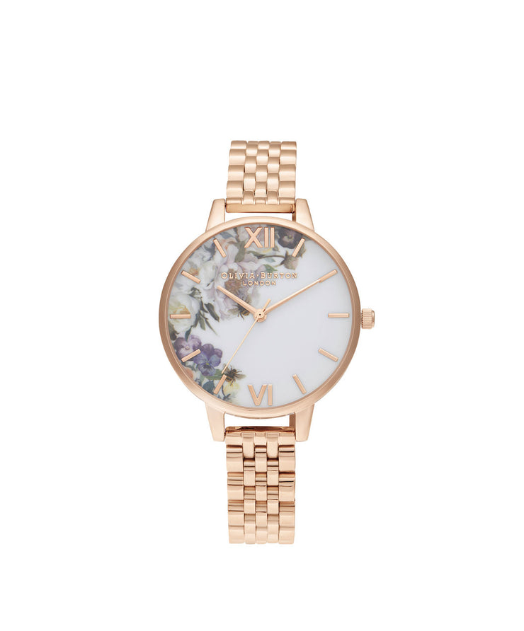 Ladies Enchanted Garden Demi Rose Gold Bracelet Watch - EG135