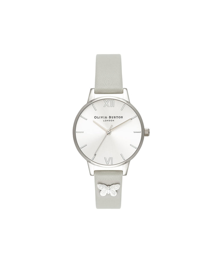 Ladies Embellished Strap Grey & Silver Butterfly Watch - MD93