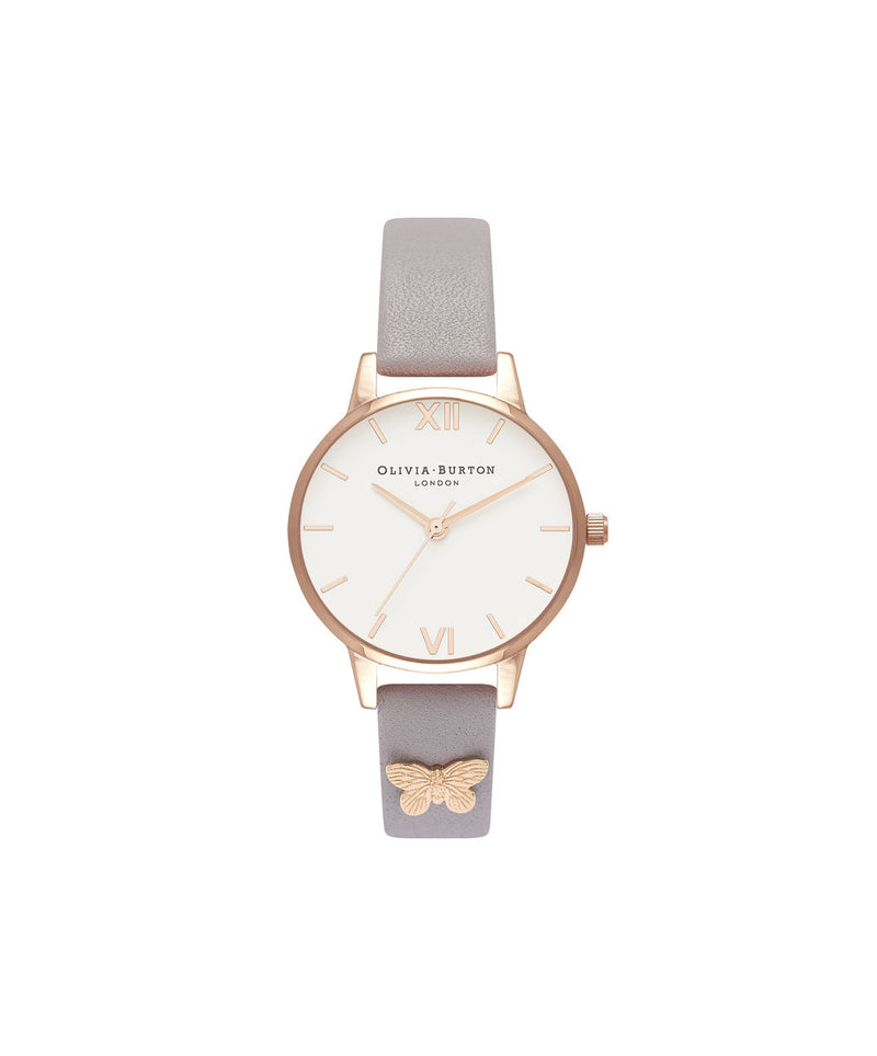 Ladies Embellished Strap Butterfly, Grey Lilac & Rose Gold - MDW39