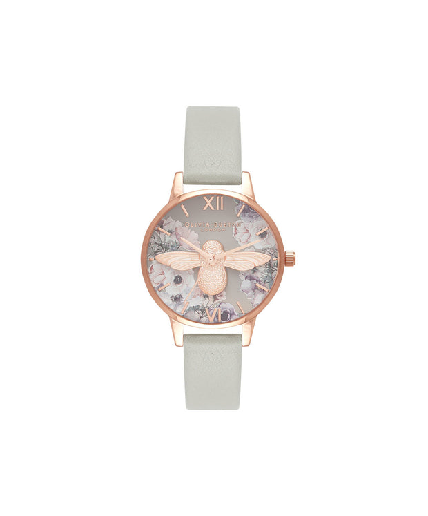 Ladies Watercolour Florals Grey & Rose Gold Watch - PP43