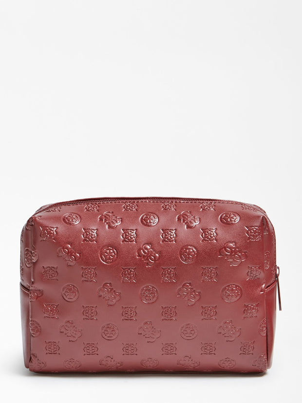 Guess Annabel Large Zip Cosmetic Bag - Burgundy