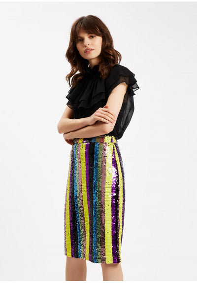 Rainbow Sequin Skirt In Multi