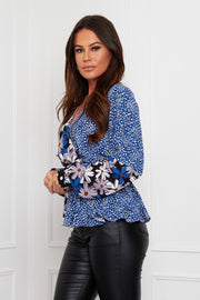 Brooklyn Wrap Top - Blue Mix