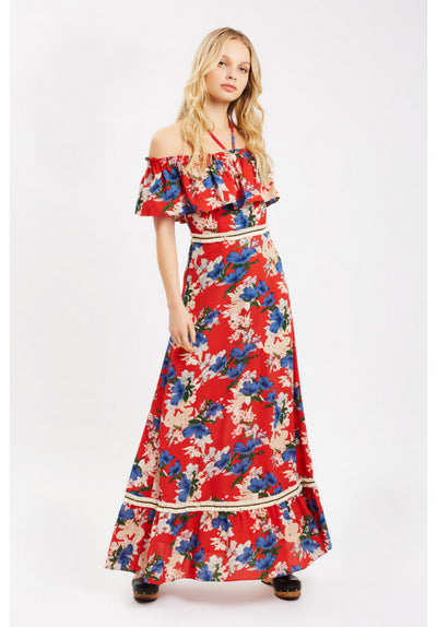 e6aca40c037 Floral Off The Shoulder Maxi Dress