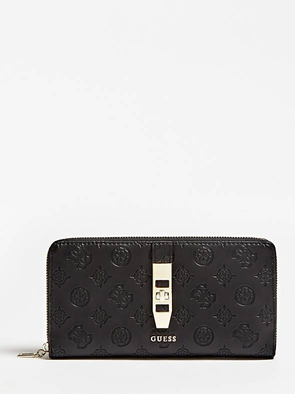 Guess Peony Classic Slg Cheque Organiser Purse - Black