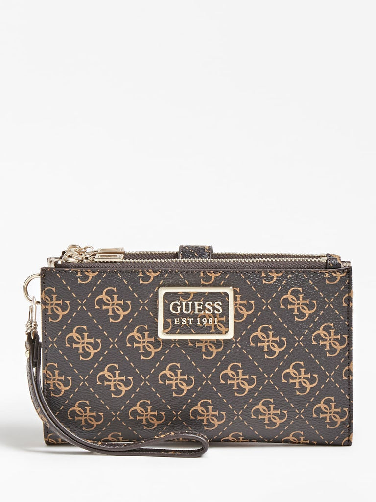 Guess Tyren Double Zip Purse - Brown Stone