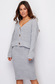 Aria 3 Button Long Sleeves Knit Grey
