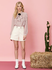Wild Horses Bow Blouse - Mellow Rose