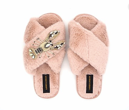 *PRE-ORDER* Crystal Lobster Fluffy Slippers - Pink