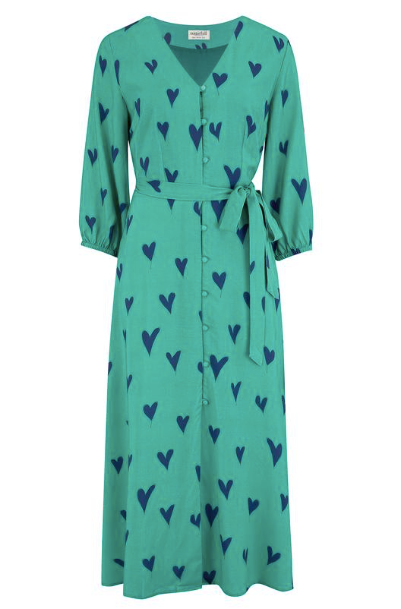 Courtney Midi Dress - Green Hearts