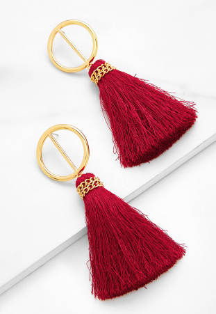 Tassle Earrings - Red & Gold