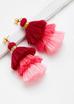 Layered Tassle Earrings - Red / Pink