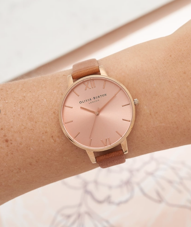 Big Dial Tan And Rose Gold Watch - BD70
