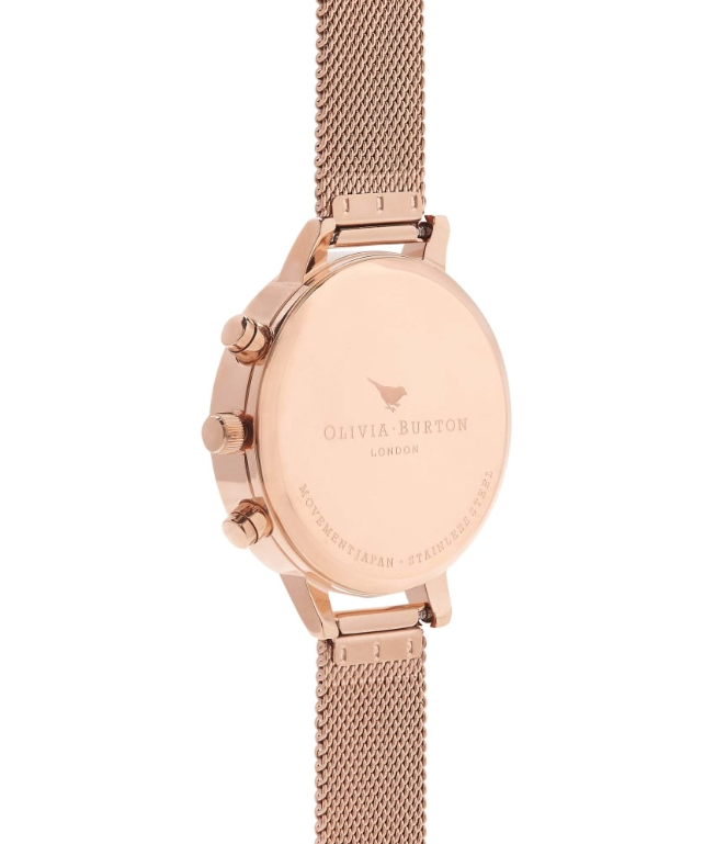 Chrono Detail Rose Gold Mesh Watch - CG86