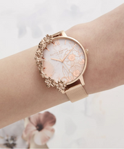 Case Cuffs Rose Gold Mesh Watch With Removeable Cuff - CB13