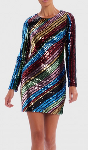 Multi-Coloured Sequin Long-Sleeved Bodycon Dress