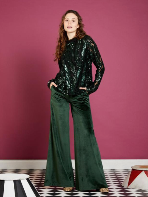 Great Confessions Sequin Top - Turtle Green