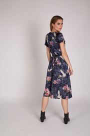 Marilyn Crane Satin Wrap Dress - Navy