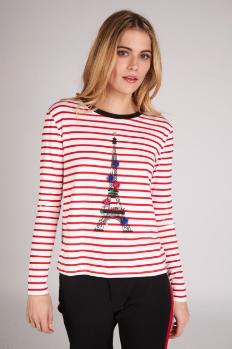 Paris Christmas Top - Red/White