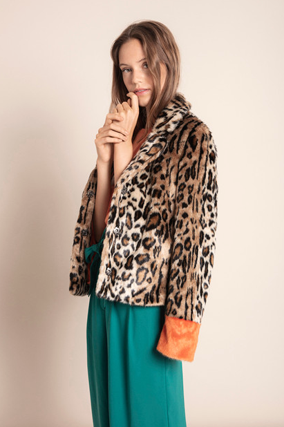 Ixvola Jacket - Leopard Print With Orange Cuffs