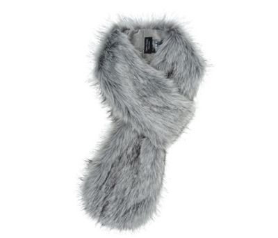 Silver Faux Fur Loop Scarf