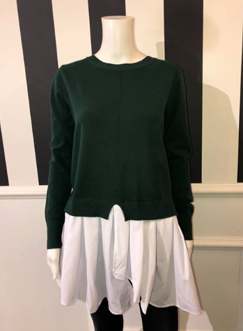 Green Jumper With White Shirt Detail
