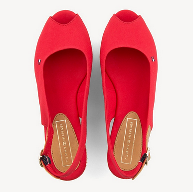 Tommy Hilfiger Iconic Elba Basic Sling Back Wedge Heel Sandal - Tango Red