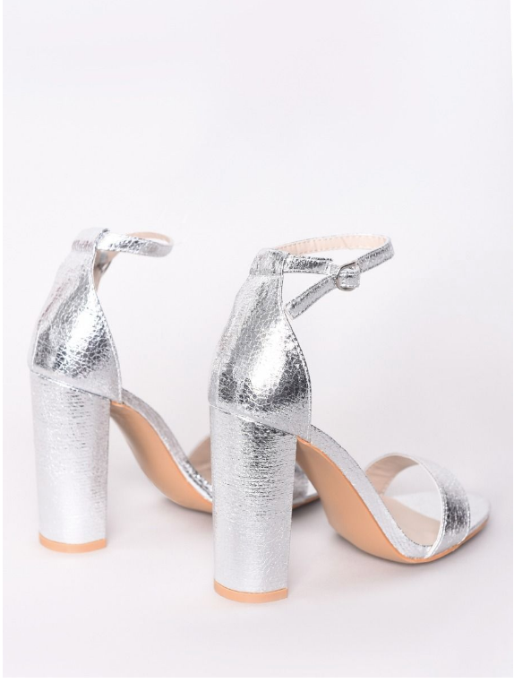 Silver Metallic Barely There Block Heels