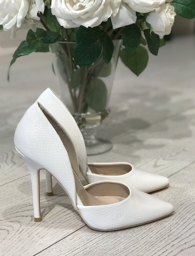 Off White Patent Stilletos