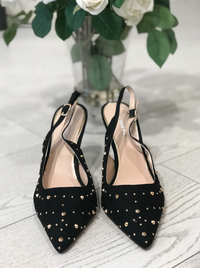Black with Gold Stud Heels