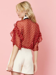 Scarlet Whistle Ruffle Bow Blouse - Red
