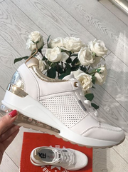 White PU Platform Sneakers with Gold Detail