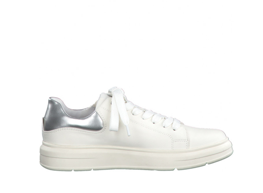 Lace Up Sneakers with Silver Detail - White