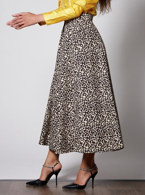 Quickstep Midi Skirt - Brown & Beige