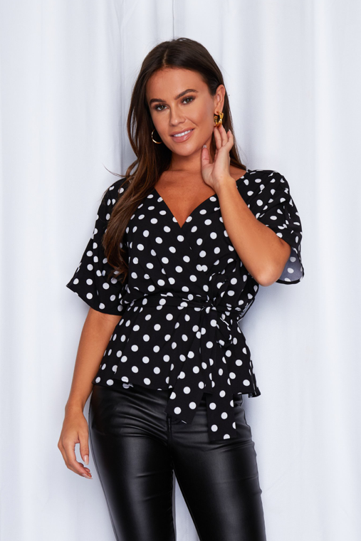Demi Batwing Belted Top Polka