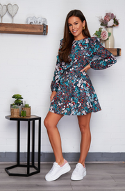 Jennifer Skater Mini Dress - Blue Floral