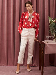 Star Baker Bow Blouse - Red and White