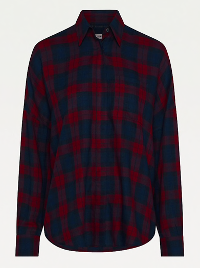 Tommy Hilfiger Tartan Relaxed Fit Shirt - Large Black Watch Check/Deep Rouge